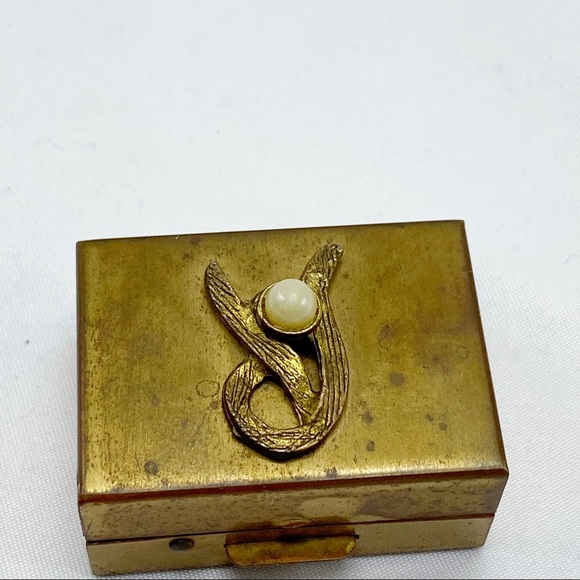 Vintage Gold Pearl Art Deco Hinged Trinket Box